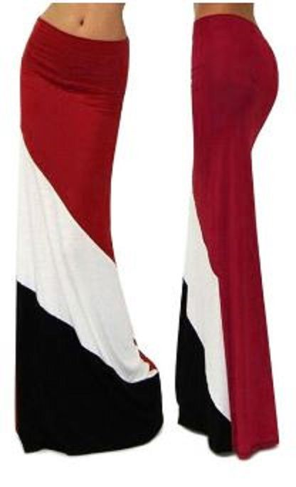 Comfy Stylish Stretch Color Block High-Waisted Maxi Skirt.