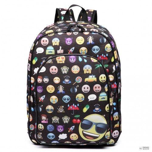 7500  Miss Lulu London E6629 - Emoticon   hátizsák táska     utazó LapTop  házizsák fekete