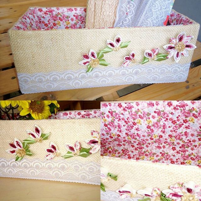 Burlap&Lace storage box by Niek's Burlap&Lace. Perfect for craft box, flower decoration, cabinets.  Size 35 x 12 cm. Height 15 cm.  Open for order!