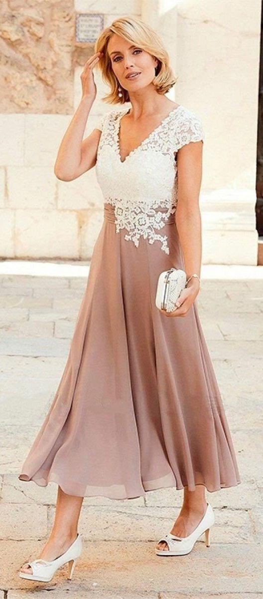 e1e2b5a3203d A-line V-neck Ivory Lace Applique Tea-length Bridesmaid Dresses Plus ...