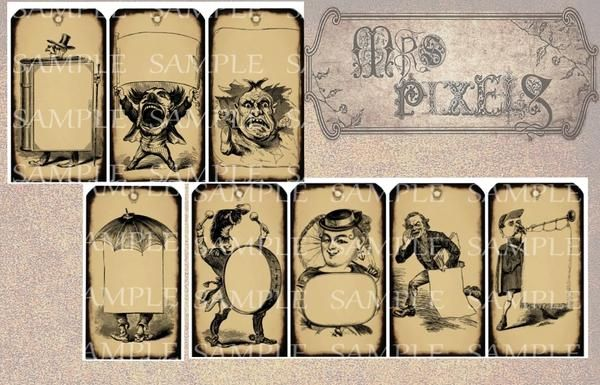 If you are looking for a little humorous touch to add to a gift these eight tags will do it! Unique and different images of people in action each with a space for you to write in. Illustration variety in Victorian style, grunge edges and neutral antiqued light brown background and a punch hole mark at the top. #tags #gifttags #humor #humorous #printable #downloads #drawings #illustrations #LittleSigns