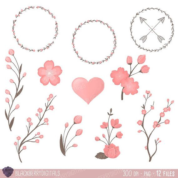 Floral Valentine's Day Clipart floral clip by BlackberryDigitals