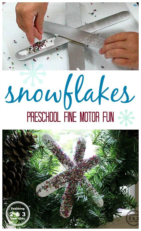 Simple snowflake ornaments made by kids - Teaching 2 and 3 Year Olds