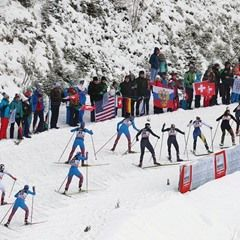 Cross-country skiers ski in the women's pursuit race during the FIS Tour de Ski in Oberstdorf