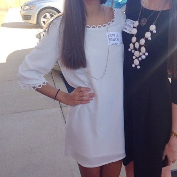 LuLu's White Shift Dress Worn once for homecoming, no stains, no damage, 3/4 sleeves Lulu's Dresses Mini