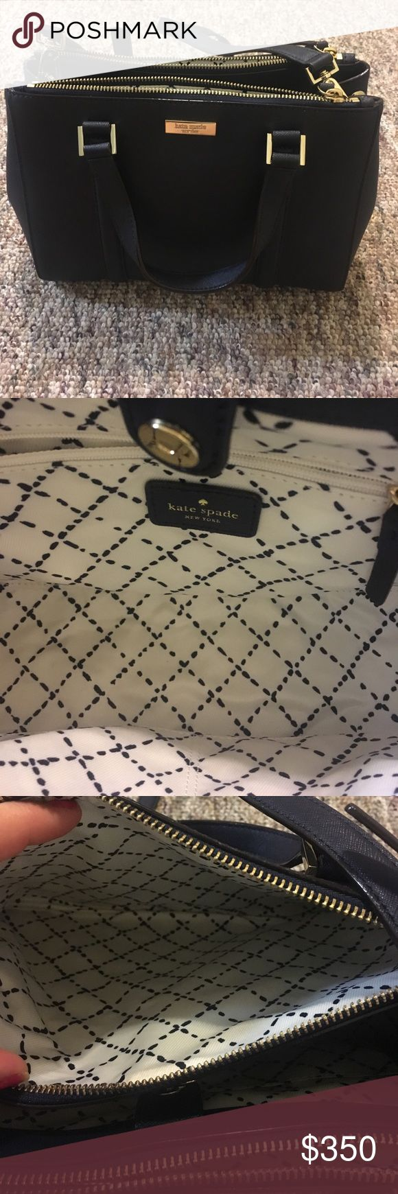 Kate Spade Newbury Lane Satchel Navy Purse Brand new, never used dark navy Kate Spade Satchel purse with three areas to store everything you need! kate spade Bags Satchels