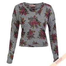 Ladies Women Vintage Rose Floral Print Cropped Short Top T Shirt Jumper Sweater