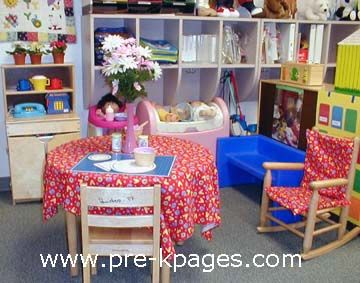 Idea for dramatic play house inspiring classroom for Daycare kitchen ideas