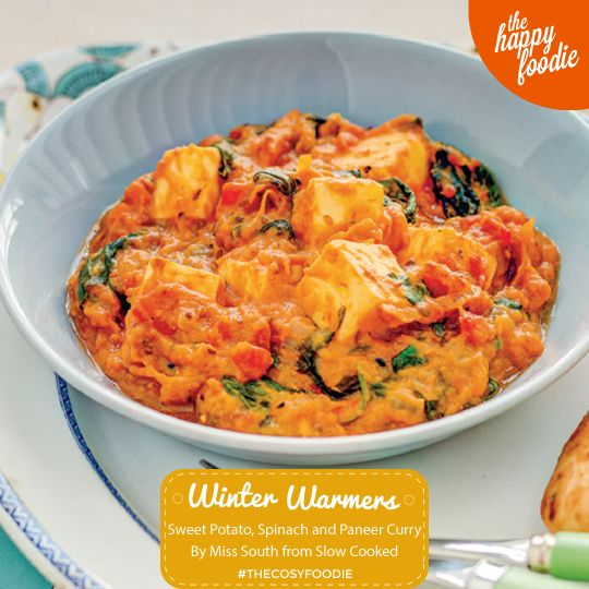 Sweet Potato, Spinach and Paneer Curry from Miss South's new book Slow Cooked. A perfect midweek meal, this easy Indian main course can be make using a slow cooker. http://thehappyfoodie.co.uk/recipes/sweet-potato-spinach-and-paneer-curry