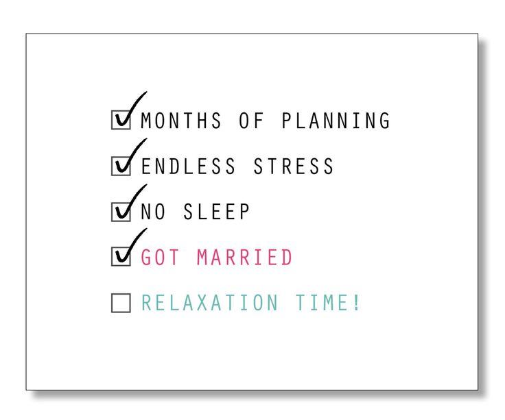 Stress Free Wedding Card. Adorable Sweet Wedding Card. Eco & Handmade. Handmade card. Checklist. by DesignParlour on Etsy