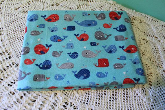 Single Layer Receiving Blanket Whales Blue Red