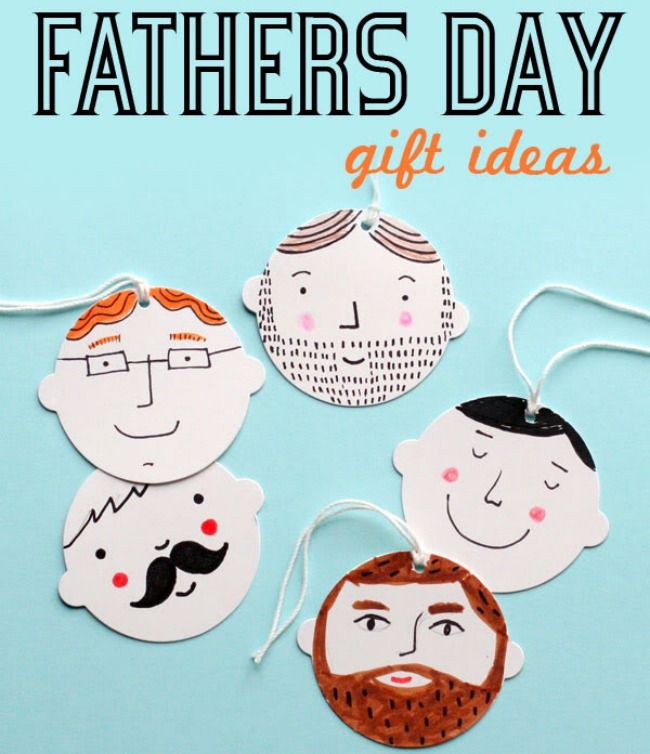 Father's Day gift ideas. Cute paper hanging tags of dads' faces.