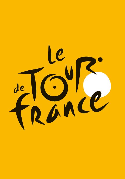 tour de frances logo features a bicycle rider the r is the rider and the o and the additional circle are the wheels the font is fun and whimsical
