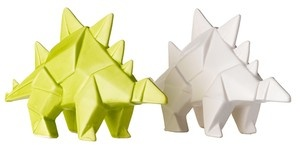 small ceramic stegosarus - origami ceramic dinosaur, origami dinosaur, neon ... - Green with Envy