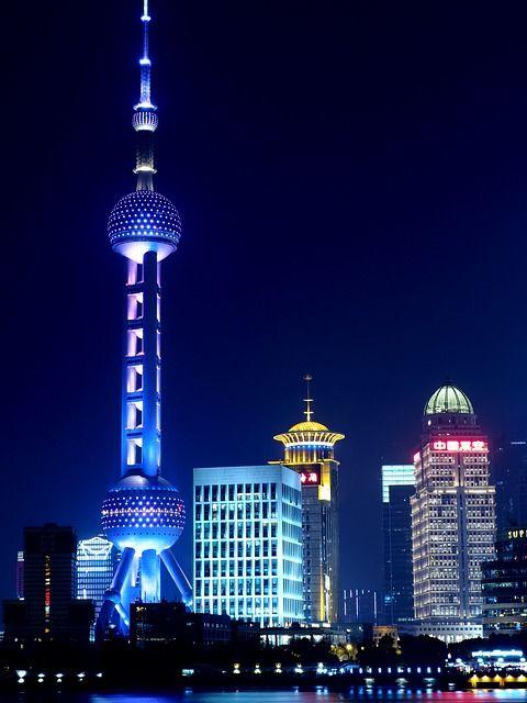 Shanghai, Oriental Pearl Tv Kulesi, Gece Görüş