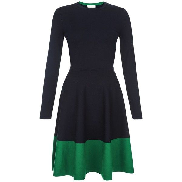 Hobbs Macie Dress ($165) ❤ liked on Polyvore featuring dresses, women dresses, green color dress, colorblocked dress, colour block dress, hobbs dresses and green color block dress
