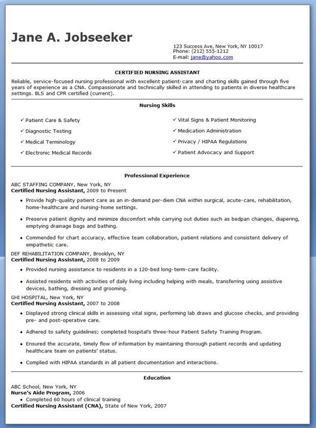 Free Sample Certified Nursing Assistant Resume Resume Examples
