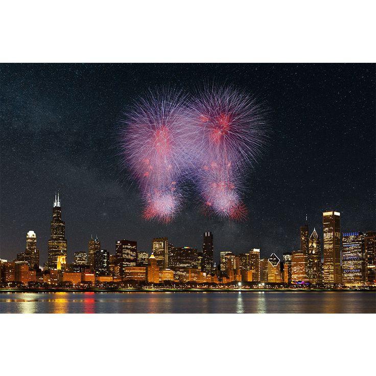 Fireworks Chicago Skyline Wall Graphic