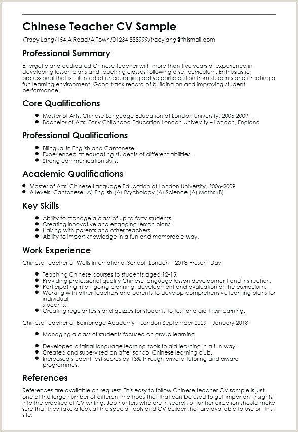 Cv Format For Teacher Job In Pakistan Teacher Resume Examples Jobs For Teachers Teaching Resume