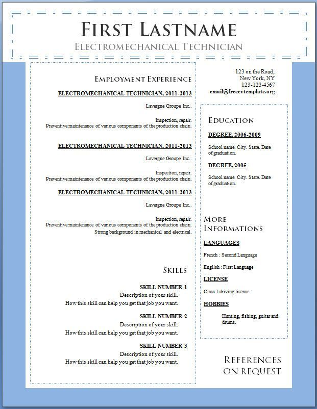 Cv Template Online Professional Europ Word Simple Student