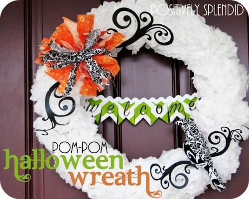 WREATHS WREATHS WREATHS: Pom Pom Halloween, Wreaths Tutorials, Paper Wreaths, Splendid Crafts, Positive Splendid, Pompom, Tissue Paper Poms, Paper Pom Poms, Halloween Wreaths