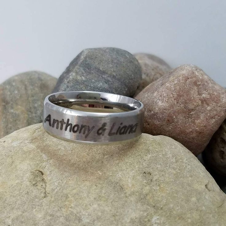 Personalized Stainless Steel Custom Wedding Band Mens Promise Rings Laser Engraved Gift for Him One of a Kind Rings His Her Matching Set by AnLJewelry on Etsy https://www.etsy.com/listing/520427307/personalized-stainless-steel-custom