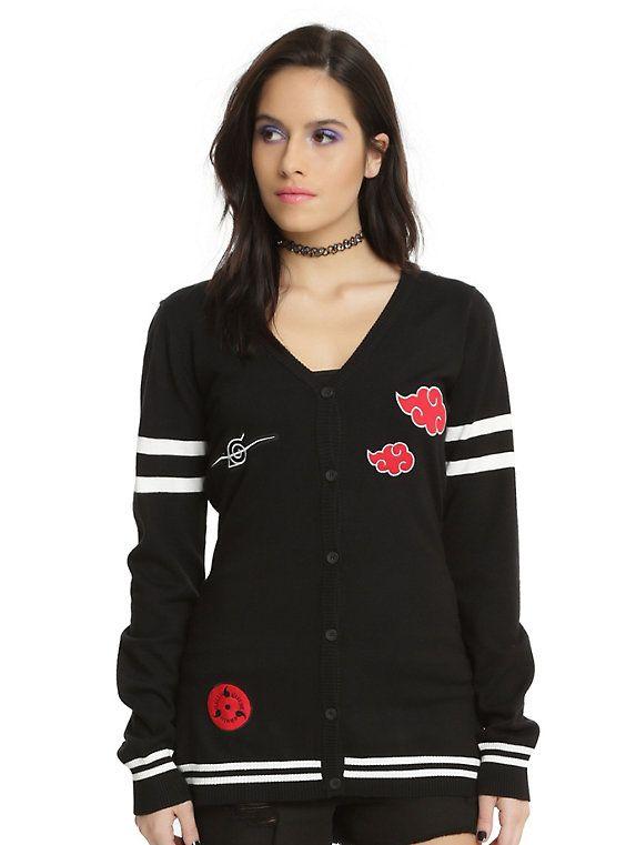 Naruto Shippuden Red Cloud Girls Cardigan, BLACK