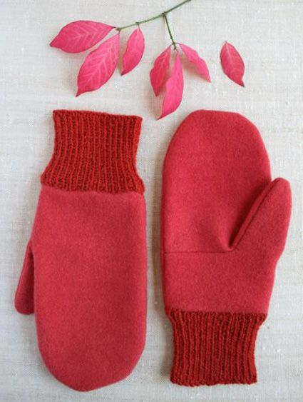 Fleece Mittens with knitted cuffs