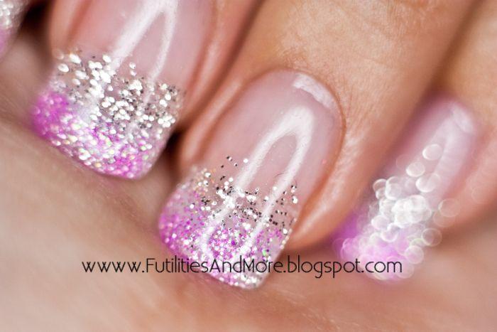pink sliver glitter nails