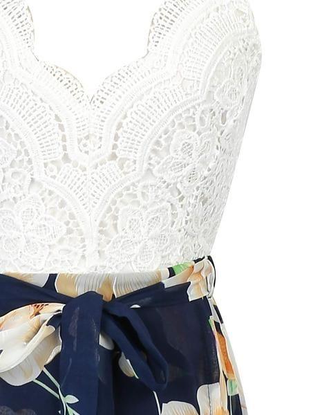 White V-neck Lace Overlay Open Back Floral Split Maxi Dress - MYNYstyle - 3