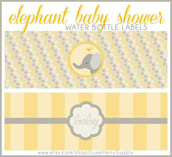 DIY PDF Baby Yellow Baby Shower Elephant Printable Water bottle Label Gender Neutral Boy Girl Baby Shower Supplies Printables Bottle Labels