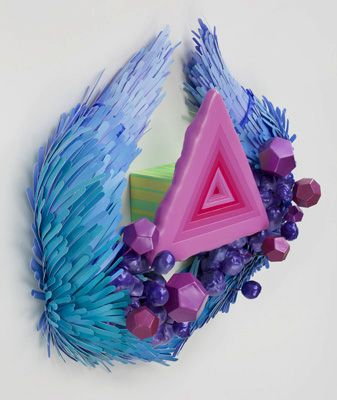 Lauren Clay -  Schism Chasm Cataclysm, 2011    Acrylic on cut paper, papier-mâché, acrylic, wire, wood