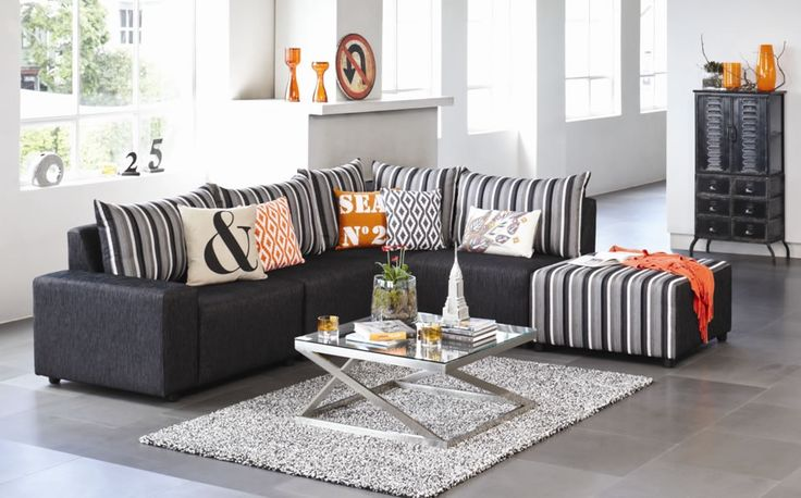 Zone Corner Lounge with Chaise by Furniture Haven. Harvey Norman.