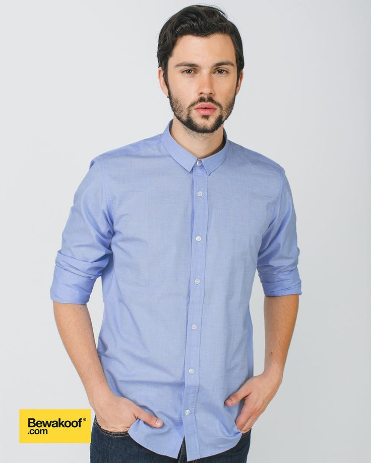 Bewakoof - Sky Blue Slim Fit Full Sleeve Shirt  INR 995 at Bewakoof.com