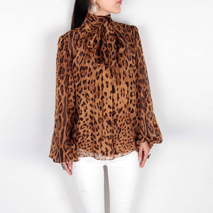 Ladies Leopard Print Silk Chiffon Blouse AP