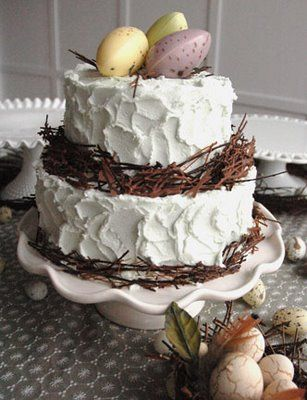 Love this cake. Chocolate shavings accent the edges:)Eggs Recipe, Birds Nests, The Edging, Cake Ideas, Easter Cake, Tiered Cake, Easter Eggs, Eggs Hunting, Easter Ideas