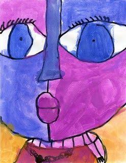 zelfportret_ruimte leren gebruiken_stappenplan_waterverf-zwarte stift-potloden voor de lijnen Big Face Painting Tutorial | Art Projects for Kids