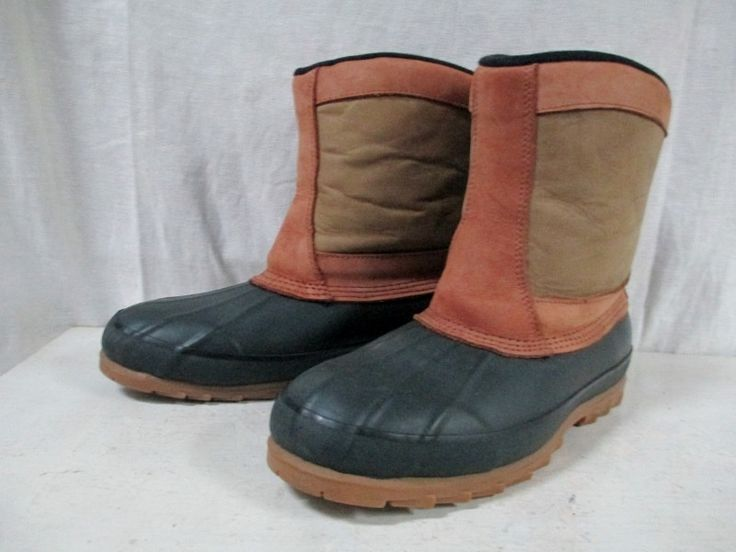 Mens REI COYOTE Rubber Duck Boots Shoes Trail Snow Lined 7 BROWN Leather