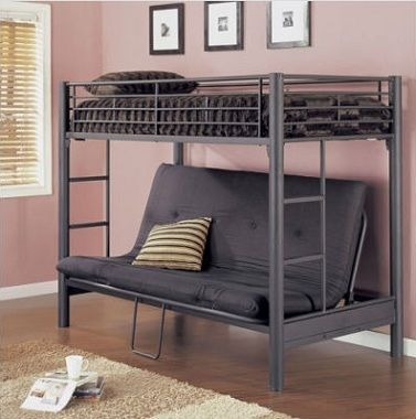 Bunk Bed With Futon Bed on Bottom Level
