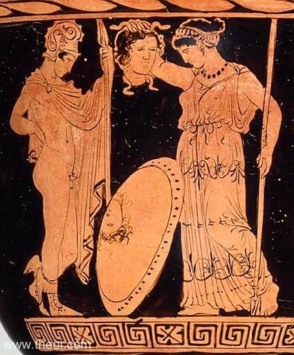 Athene receives the head of Medousa from Perseus. The hero is depicted as a young man, wearing the winged boots of Hermes and the cap of darkness on his head. Athene holds the Gorgoneion (Gorgon head) by its snaky locks, its image reflecting in the mirror of the shield.  ca 400 - 385 BC