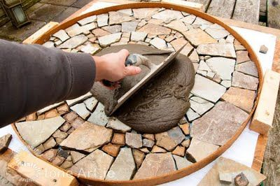 cement1- DIY stepping stones out of broken terra cota pots and tiles