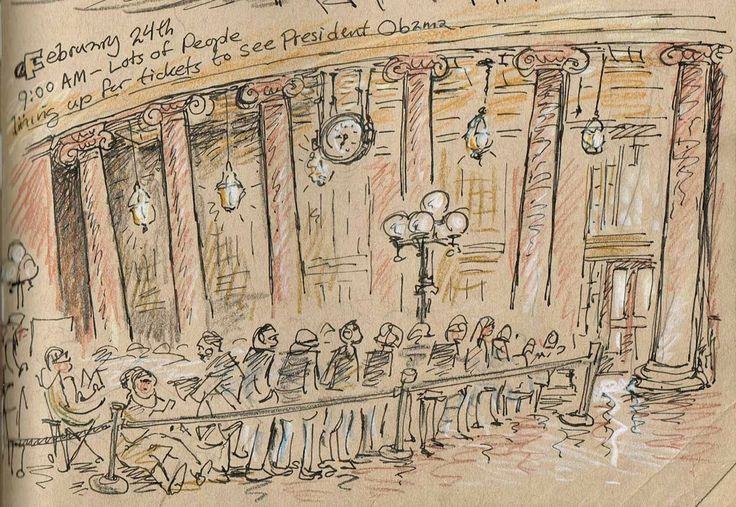 Urban Sketchers Twin Cities: Sketching President Obama at the Union Depot in Saint Paul.