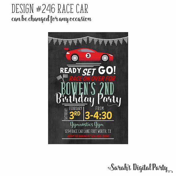 race car invitation 4x6 or 5x7 digital you print your own digital