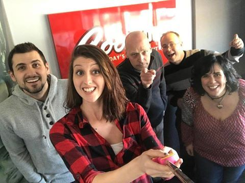 Cool 100 FM is a Canadian-based country music radio station, operated by Starboard Communications. The programming ranges from Wiggy and McKay's popular morning show to the Casey Clarke Country Countdown. In this office selfie, the Cool 100 team are putting the word out about their recent Lady Antebellum: Beat The Box Office competition.