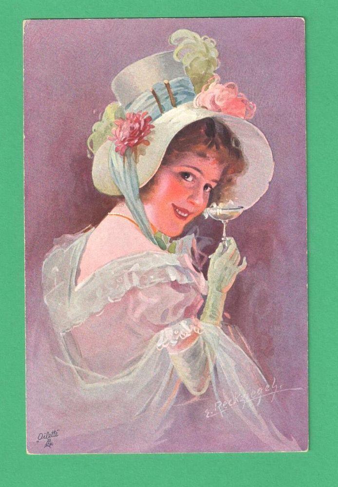 VINTAGE TUCK E. RECKZIEGEL MODERN MASTER ART POSTCARD BEAUTIFUL LADY CHAMPAGNE