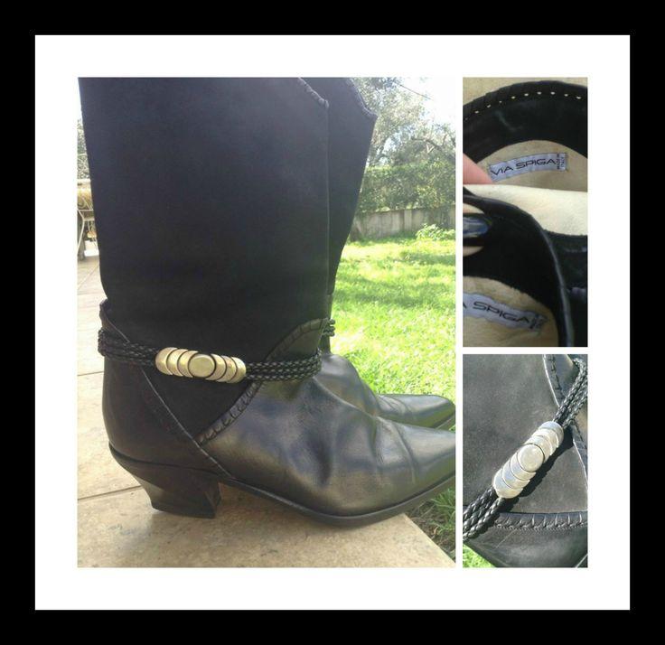 Gorgeous Via Spiga Black Leather and Suede Boots, original, European 39, U.S 8.5- U.K. 6.5, egst, Greece by GirlyStuffByDeJaVu on Etsy