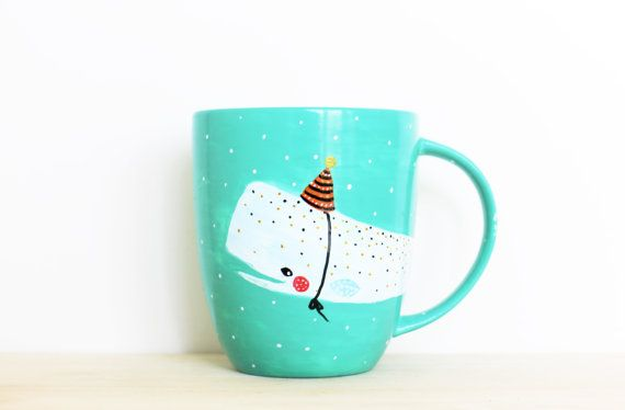 Whale Mug Party Hat - Handpainted original illustration - Tea Coffee Cup Seagreen - Porcelain Mug - Fine Bone China