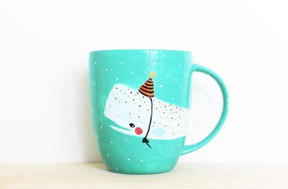 Whale Mug Party Hat - Handpainted original illustration - Tea Coffee Cup Seagreen - Porcelain Mug - Fine Bone China