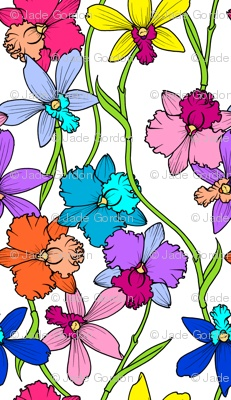Orchids Bright fabric print