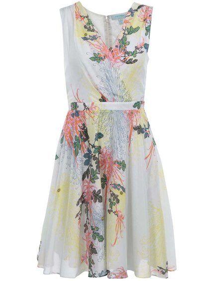 Biele kvetinové šaty Fever London Biscayne